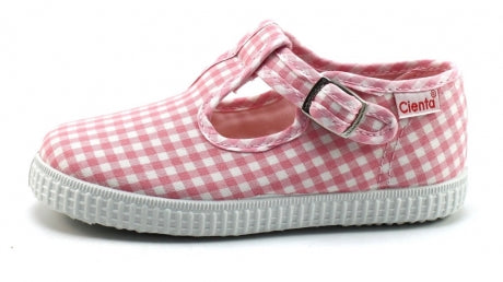 Cienta 51007 Light Pink Gingham T- Strap