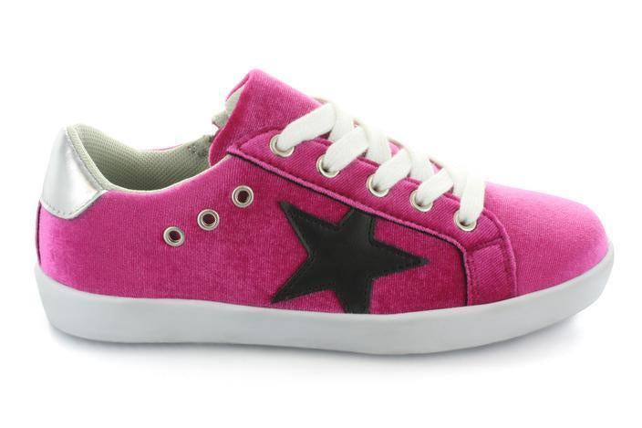 Hoo Magenta Velvet Mia Lace Up/Zipper Sneaker