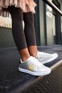 Hoo Silver Glitter Mia Lace Up/Zipper Sneaker