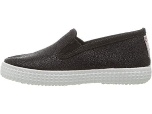 Cienta 57013 Black Sparkle Canvas Laceless Sneaker