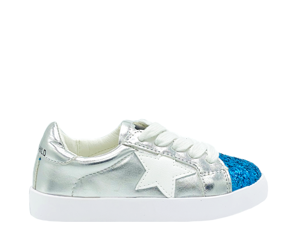 Stylechild Saige Silver/Blue Lace Up Sneaker