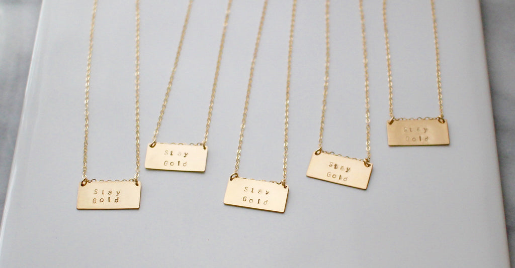 Large gold bar necklaces