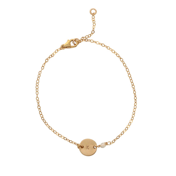 Gold Birthstone bracelet - April - Clear Quartz