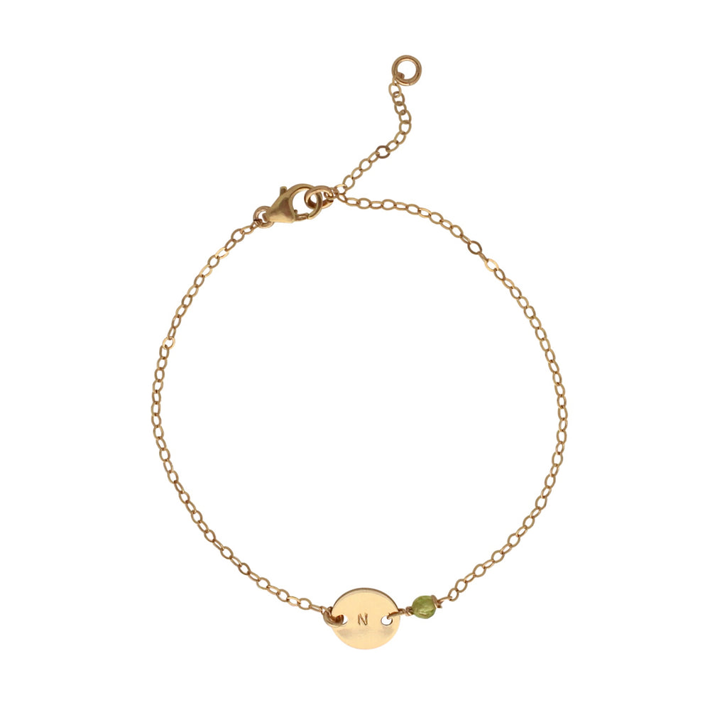Gold Birthstone bracelet - August - Peridot