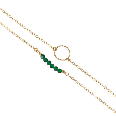 Gold Birthstone Bracelet set