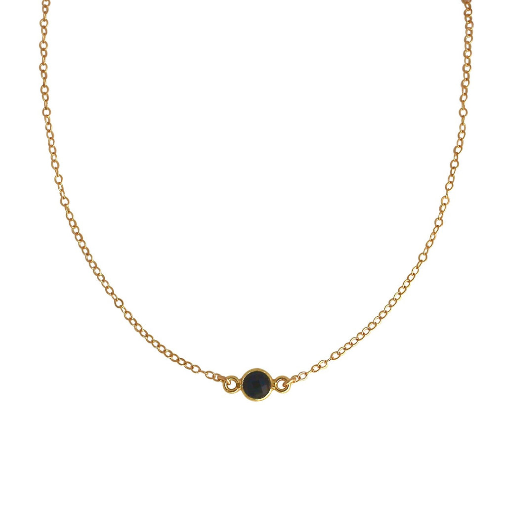 Black Onyx gold choker necklace