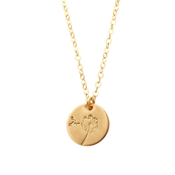 Botanical Dandelion gold disc necklace