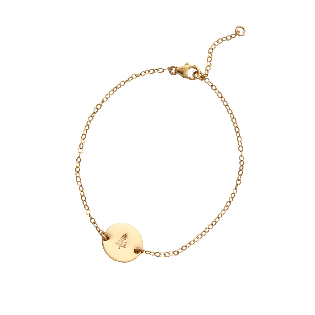 Botanical Gold Disc bracelet - Evergreen