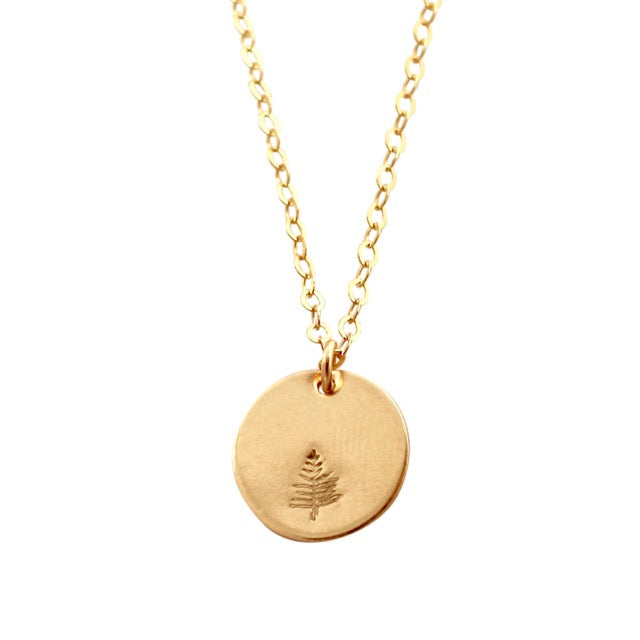 Botanical gold disc necklace - evergreen tree