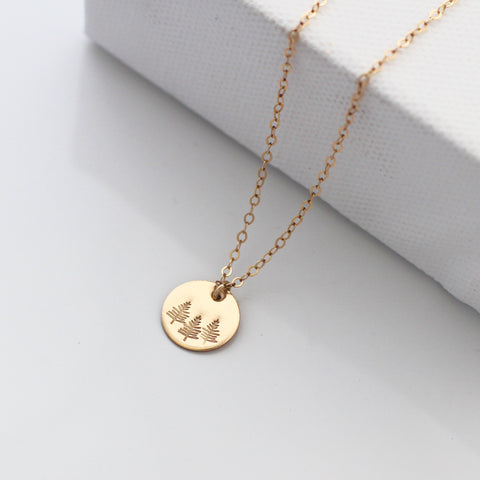 Botanical gold disc necklace - forest