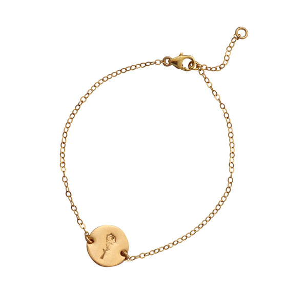 Botanical Gold Disc bracelet - rose
