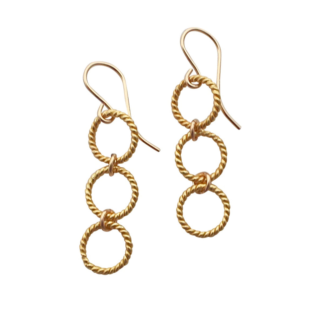 Gold Cascading Circle earrings