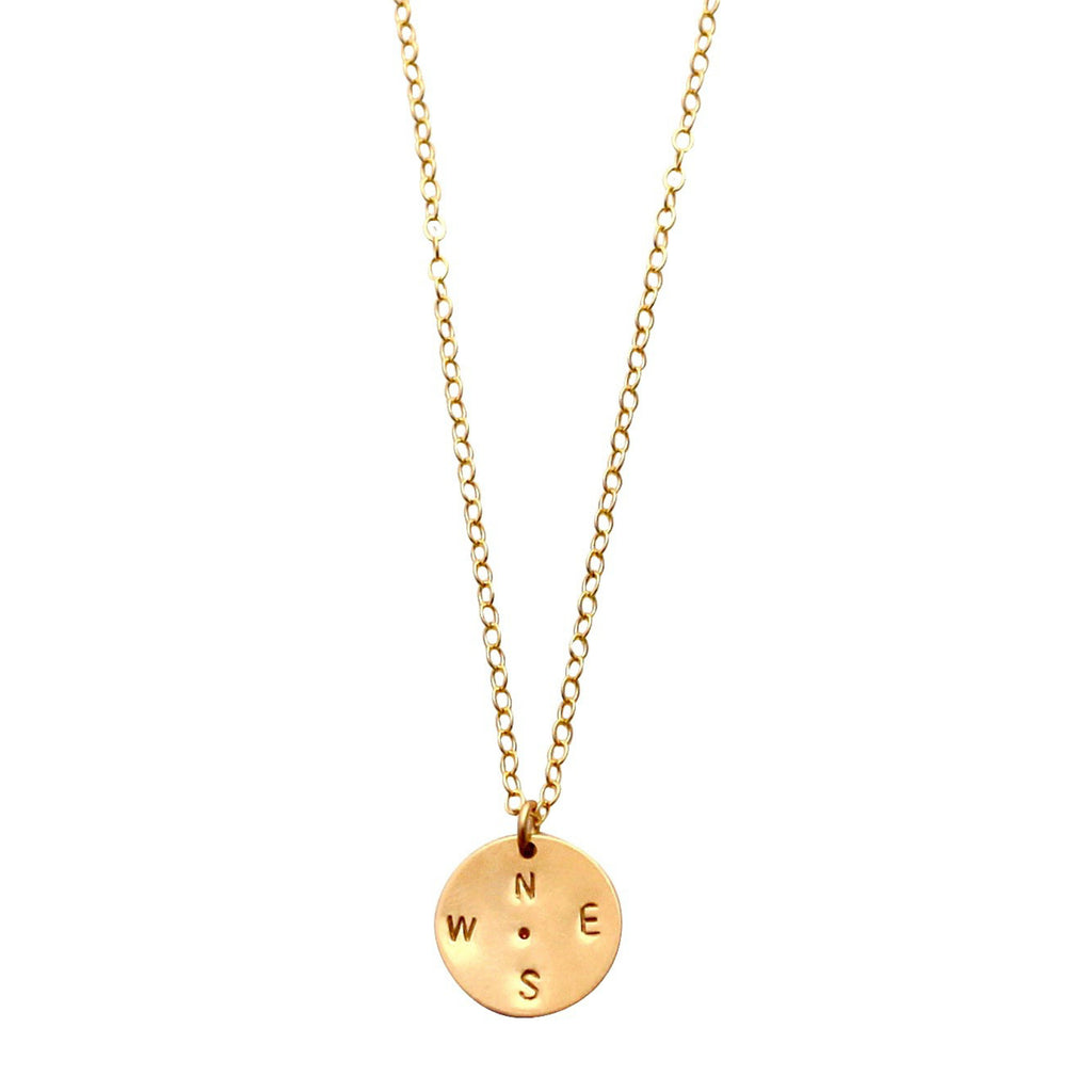 Gold Compass Disc necklace