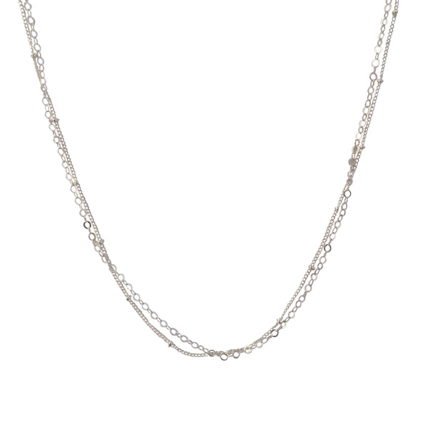 Dainty Silver Layered Chain necklace