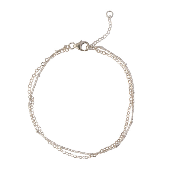 Dainty Silver Layered Chain bracelet