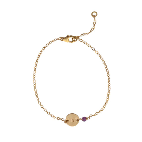 Personalised Gold Birthstone bracelet - February - Amethyst