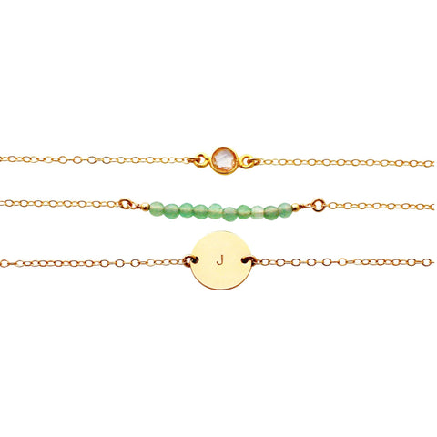 Gold Bracelet Set - Gemstone