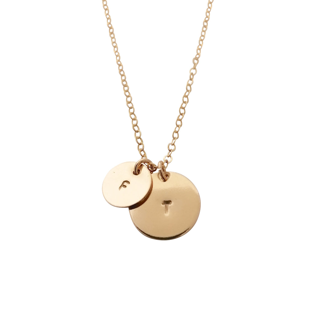 Personalised double disc necklace - modern font