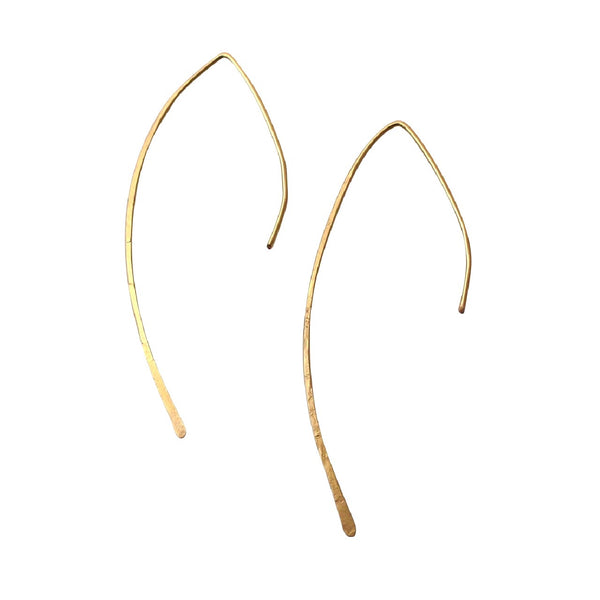 Gold Arced Ear Threader earrings