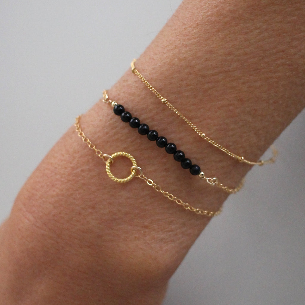 skinny black pearl three set bracelet chanel bracelets gold mother jewelry bangle of
