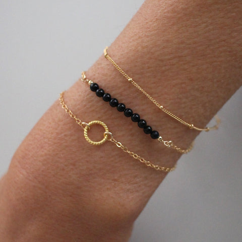 Gold Bracelet Set - Black Onyx