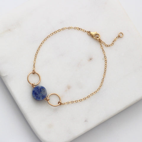 Blue Sodalite Gold Circle bracelet