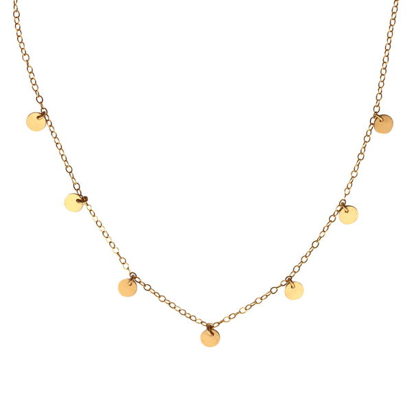 Gold coin disc necklace