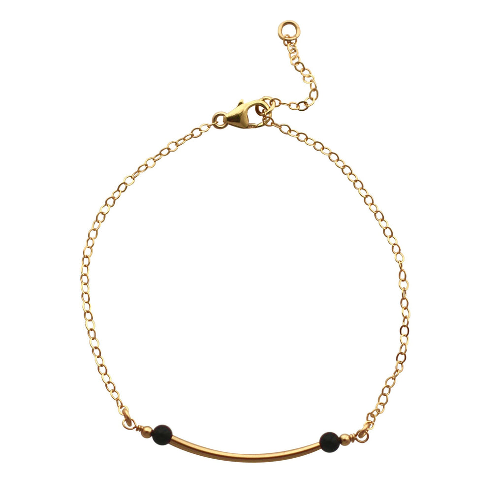 Gold Curved Bar bracelet with black onyx