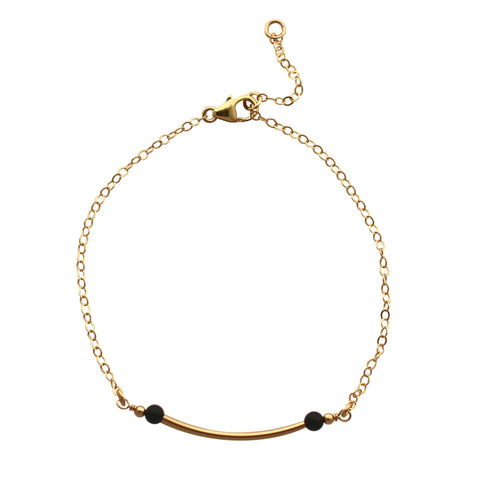 Gold Curved Bar bracelet - black onyx