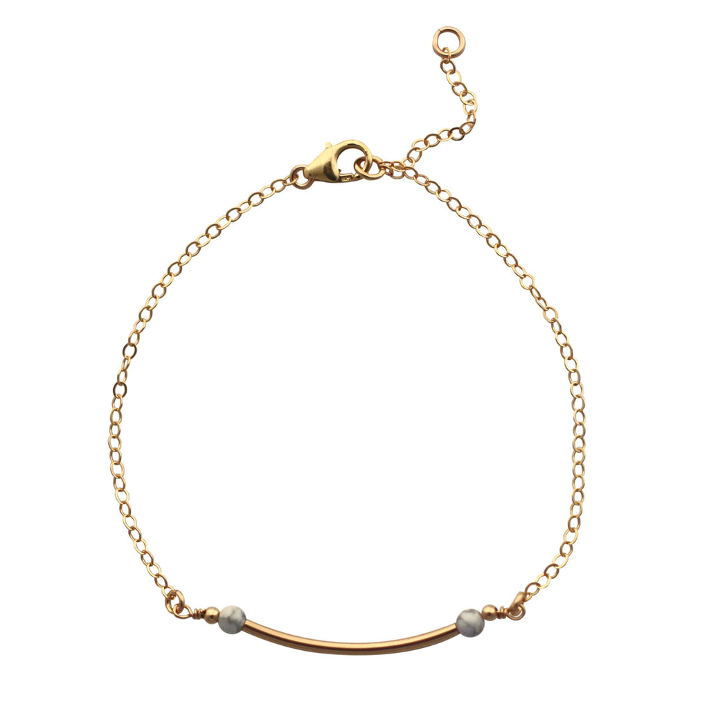 Gold Curved Bar bracelet with marble