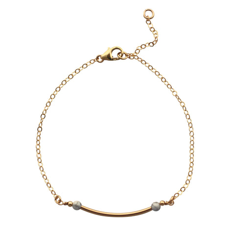 Gold Curved Bar bracelet - marble
