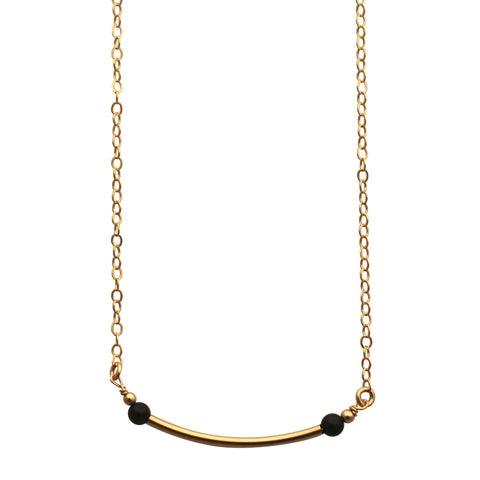 Gold Curved Bar necklace - black onyx