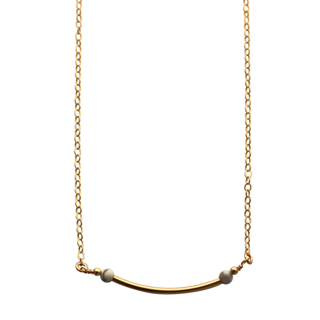 Gold Curved Bar necklace with marble