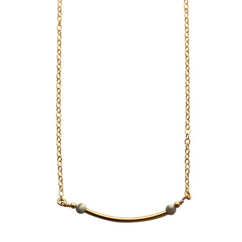 Gold Curved Bar necklace - marble