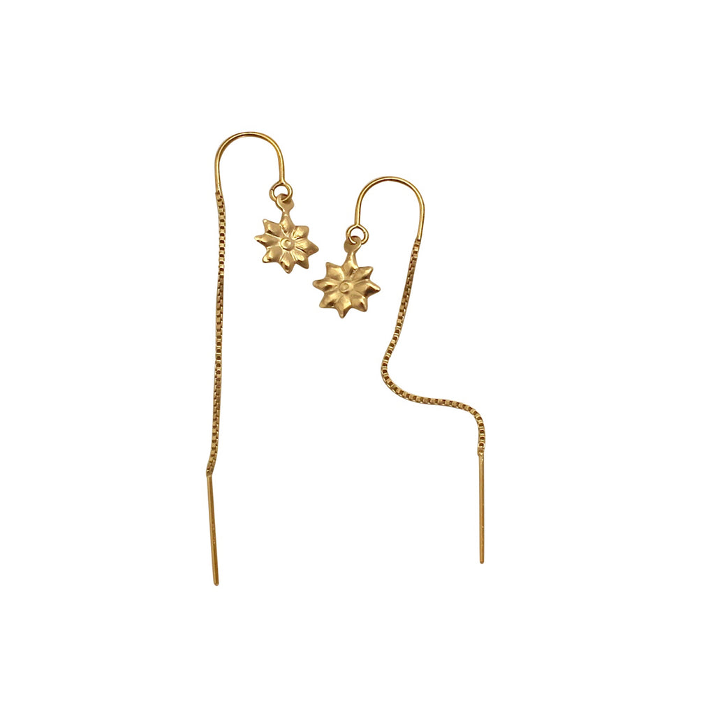 Gold Flower chain earrings
