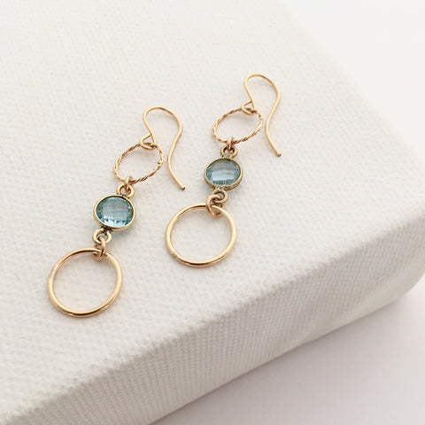 Gold Gemstone Circle earrings