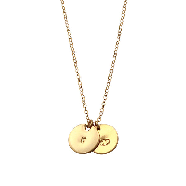 Gold Initial This necklace with two discs