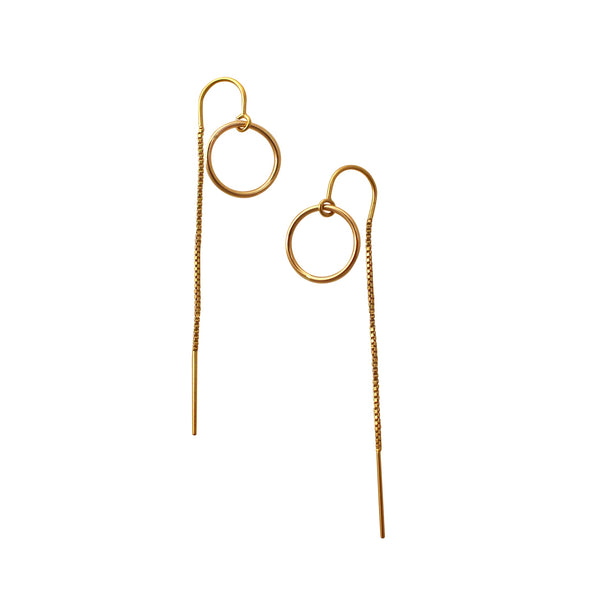 Gold Open Circle chain earrings