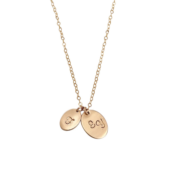 Double Disc Gold Oval Personalised necklace