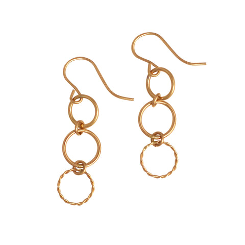 Gold Triple Open Circle earrings