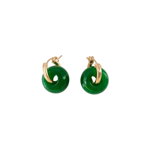 Green Jade ear huggers