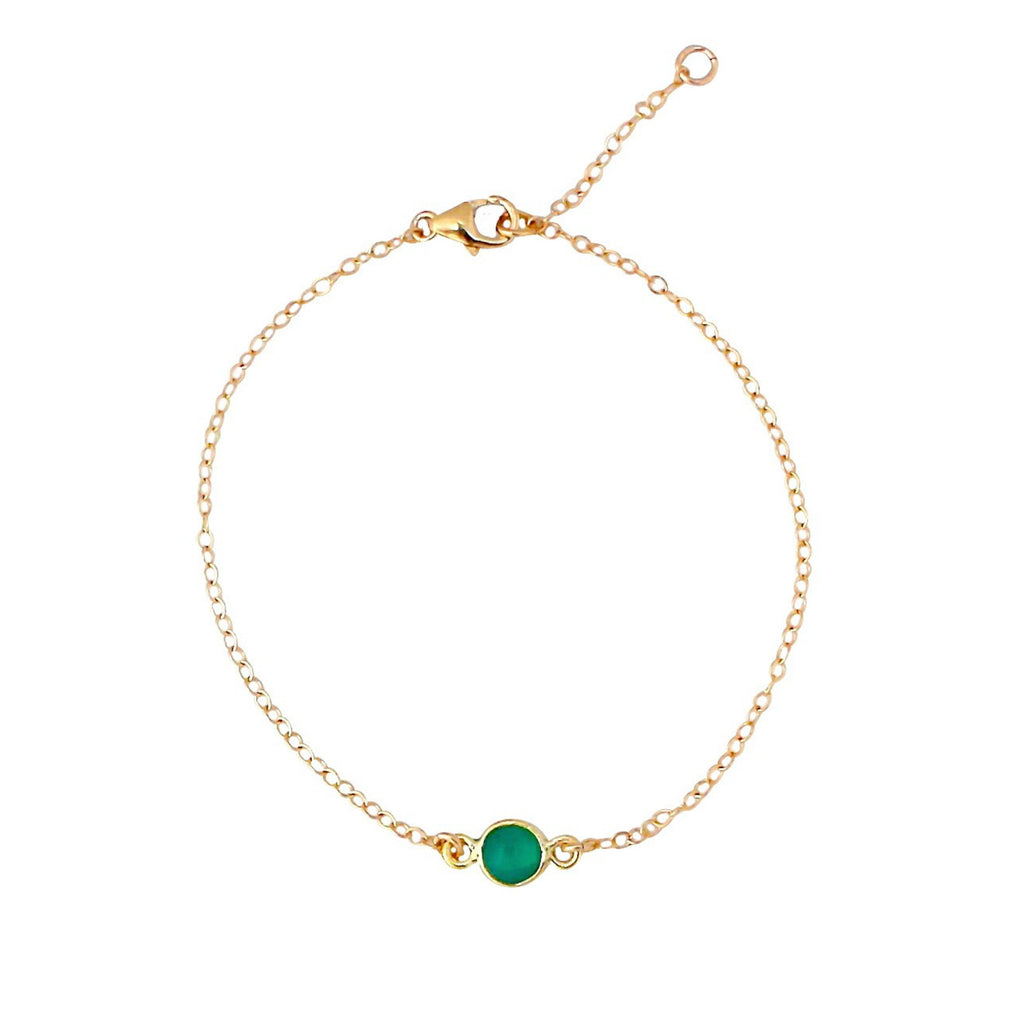 Green Onyx single drop gold bracelet