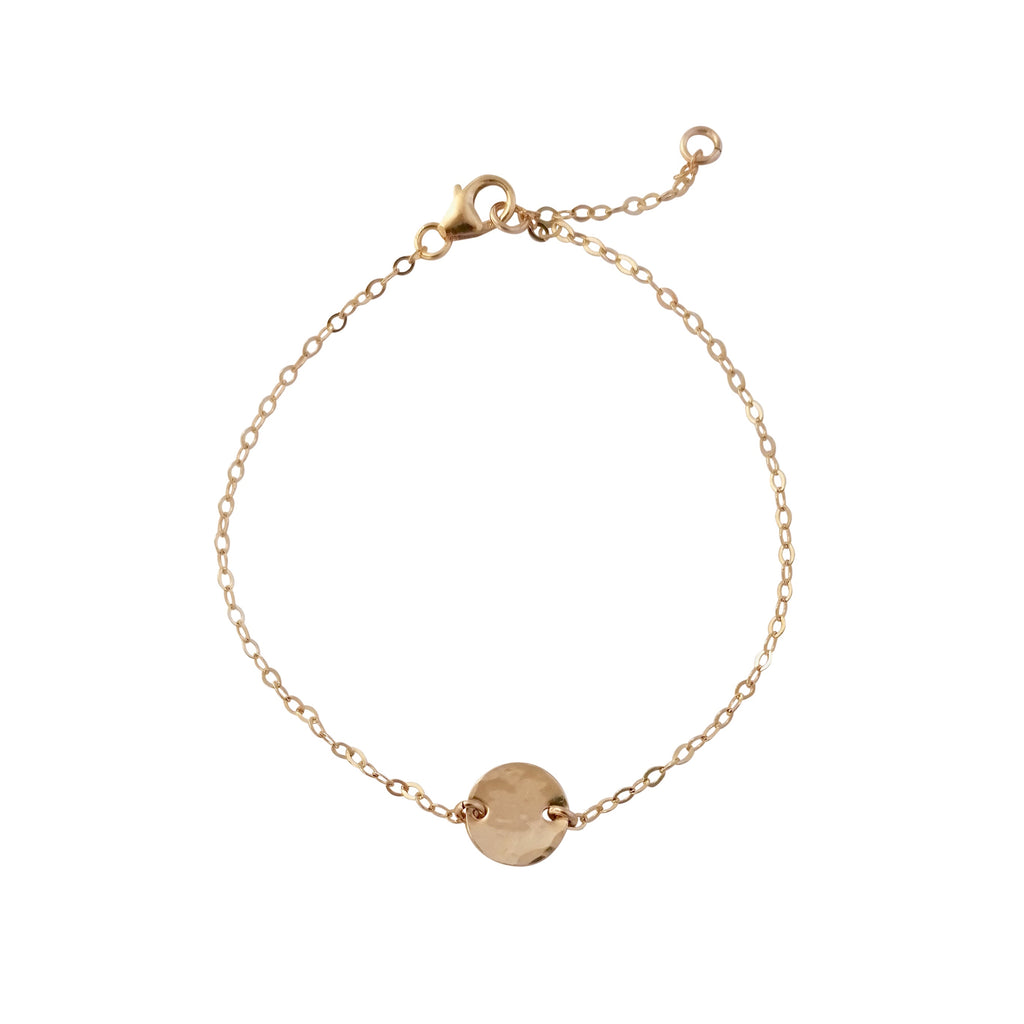 Gold Hammered Disc bracelet