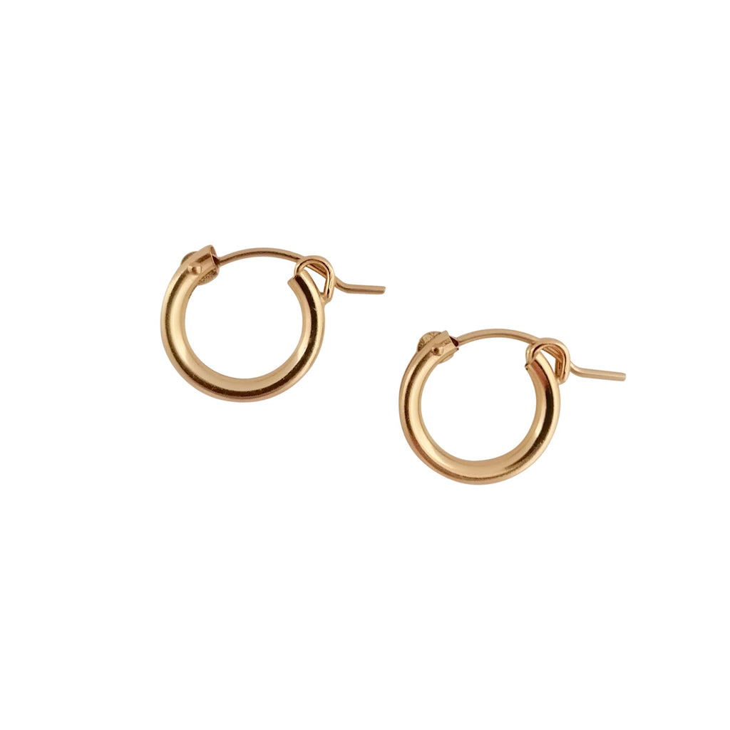 Small Gold Hinged hoop earrings