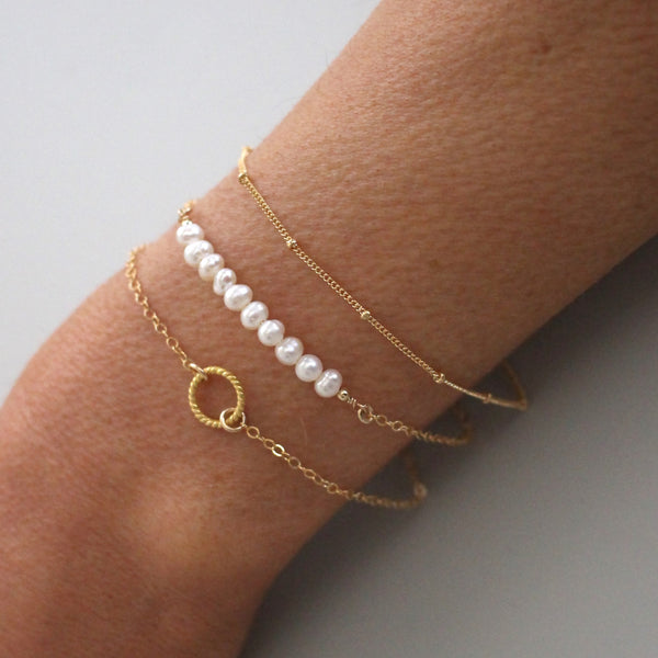 Gold Bracelet Set - pearl