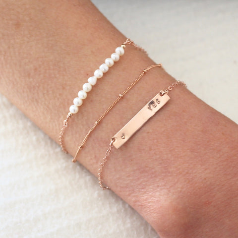 Rose Gold Bracelet Set - Nameplate