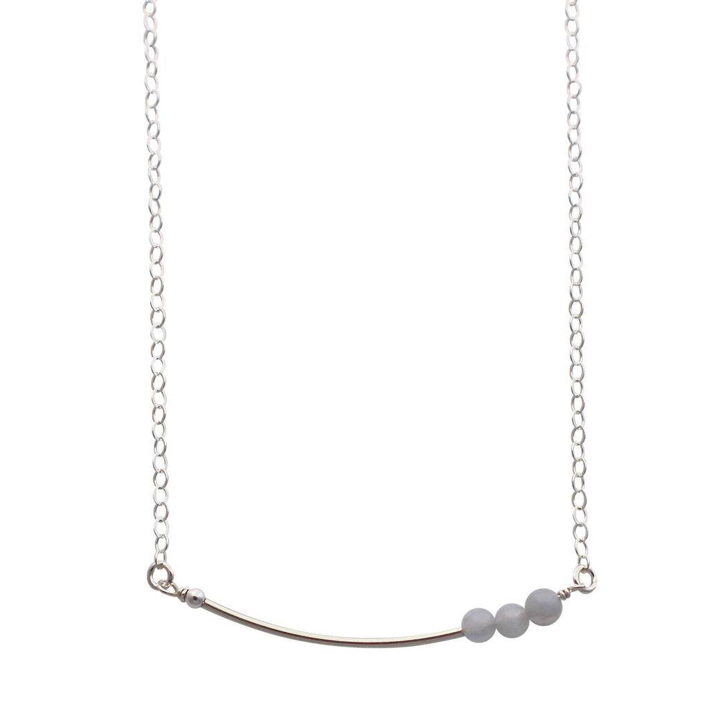 Silver Curved Bar necklace with agate