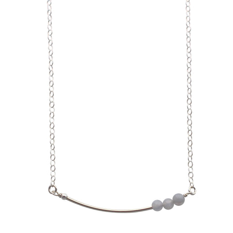 Silver Curved Bar necklace - agate