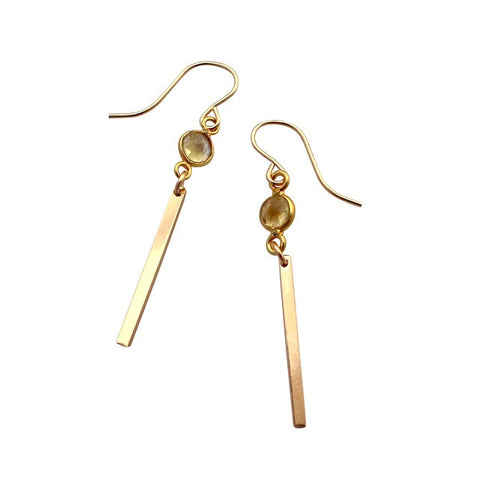 Citrine Gold Bar earrings