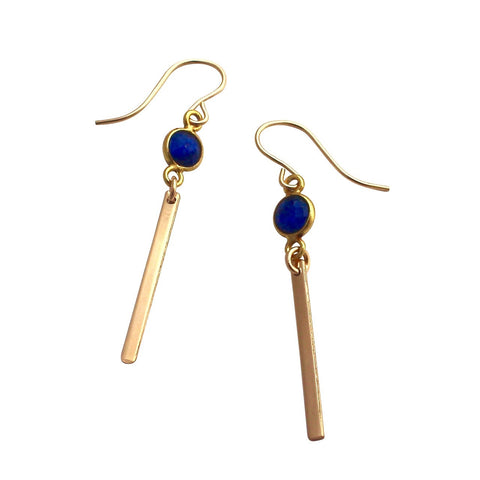 Blue Lapis Gold Bar earrings